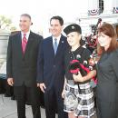AG J.B. Van Hollen with Gov. Scott Walker, Lt. Gov. Rebecca Kleefisch and 13-year-old Tyler Tuttle, who played the bagpipes as part of the Sheboygan County Sheriff's Department Honor Guard with which his dad serves.
